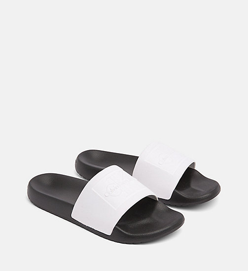 CALVIN KLEIN JEANS Flocked Sliders - WHITE / BLACK - CALVIN KLEIN JEANS SLIDERS - detail image 1