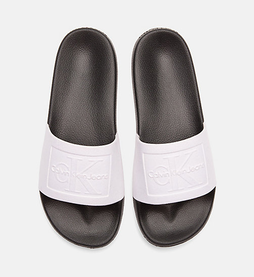 CALVIN KLEIN JEANS Flocked Sliders - WHITE BLACK - CALVIN KLEIN JEANS SLIDERS - main image