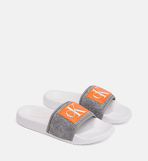 CALVIN KLEIN JEANS Felt Sliders - AIRFORCE GREY - CALVIN KLEIN JEANS LOGO SHOP - detail image 1