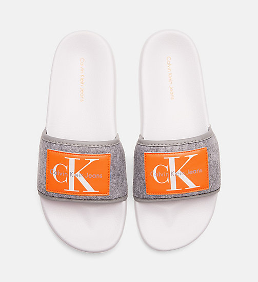 CALVIN KLEIN JEANS Felt Sliders - AIRFORCE GREY - CALVIN KLEIN JEANS LOGO SHOP - main image
