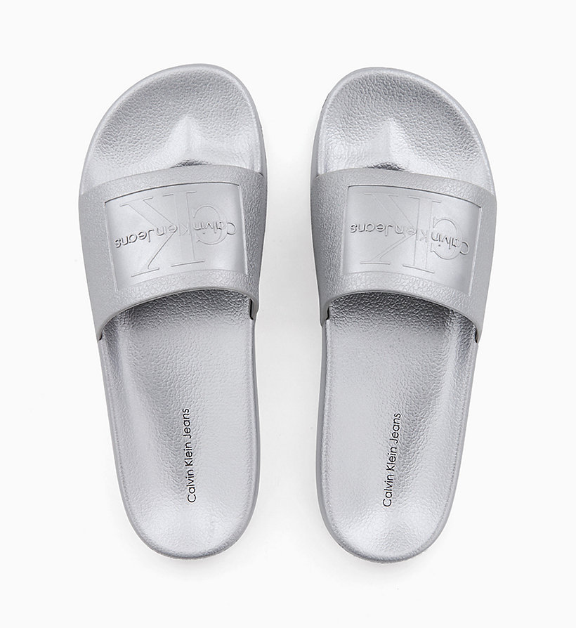 CALVIN KLEIN JEANS Metallic Sliders - ICY BLUE - CALVIN KLEIN JEANS WOMEN - main image