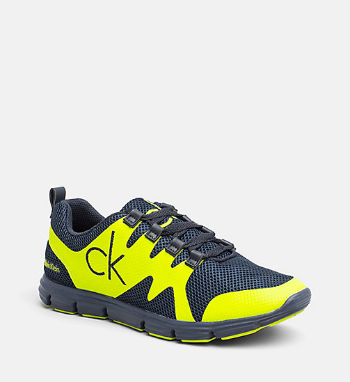 CALVIN KLEIN JEANS Mesh Sneakers - NAVY /YELLOW FLUO - CALVIN KLEIN JEANS SHOES - main image