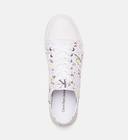 CALVIN KLEIN JEANS Canvas Paint Splatter Sneakers - WHITE - CALVIN KLEIN JEANS TRAINERS - detail image 1