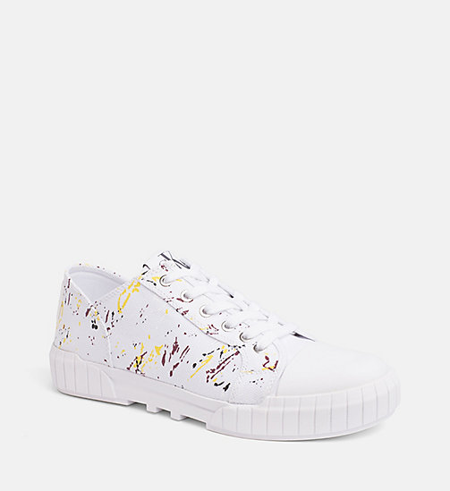 CALVIN KLEIN JEANS Canvas Paint Splatter Sneakers - WHITE - CALVIN KLEIN JEANS TRAINERS - main image