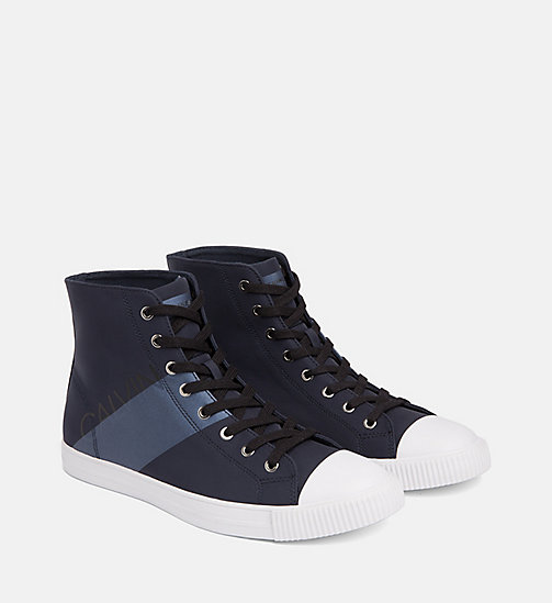 CALVIN KLEIN JEANS Nylon High-Top Sneakers - NAVY/METAL BLUE - CALVIN KLEIN JEANS TRAINERS - detail image 1