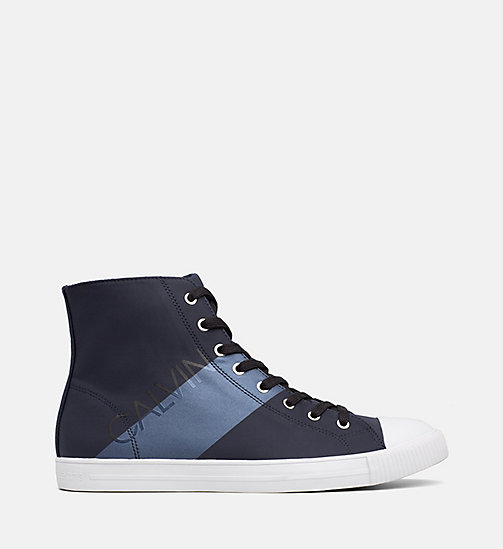 CALVIN KLEIN JEANS Nylon High-Top Sneakers - NAVY/METAL BLUE - CALVIN KLEIN JEANS TRAINERS - main image