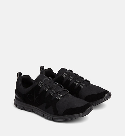 CALVIN KLEIN JEANS Flocked Mesh Sneakers - BLACK - CALVIN KLEIN JEANS TRAINERS - detail image 1