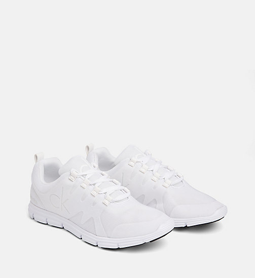 CALVIN KLEIN JEANS Flocked Mesh Sneakers - WHITE - CALVIN KLEIN JEANS TRAINERS - detail image 1