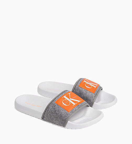 CALVIN KLEIN JEANS Felt Sliders - AIRFORCE GREY - CALVIN KLEIN JEANS SLIDERS - detail image 1
