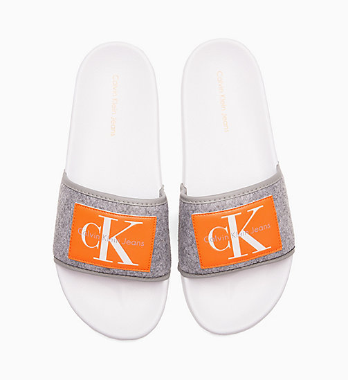 CALVIN KLEIN JEANS Felt Sliders - AIRFORCE GREY - CALVIN KLEIN JEANS SLIDERS - main image