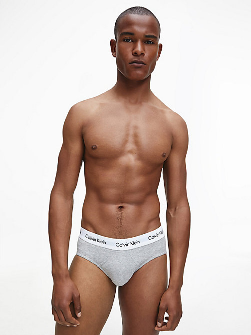 CALVINKLEIN 3 Pack Hip Briefs - Cotton Stretch - BLACK/WHITE/GREY HEATHER -  BRIEFS - detail image 1
