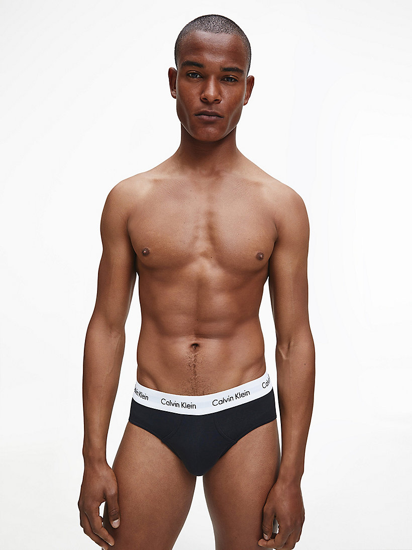 CALVINKLEIN 3 Pack Hip Briefs - Cotton Stretch - BLACK - CALVIN KLEIN UNDERWEAR - detail image 4