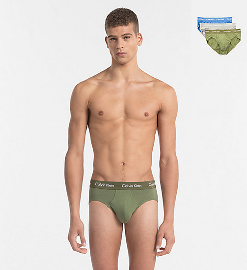 CALVINKLEIN 3 Pack Hip Briefs - Cotton Stretch - OLIVINE/ SKYVIEW/ MEDIUM GREY  (W/ WHITE - CALVIN KLEIN BRIEFS - main image