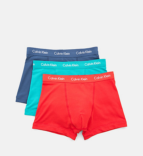 CALVINKLEIN 3 Pack Trunks - Cotton Stretch - GENOA/ RED HEAT/ SYMPHONY (W/ WHITE LOGO - CALVIN KLEIN Bright Colours - detail image 1