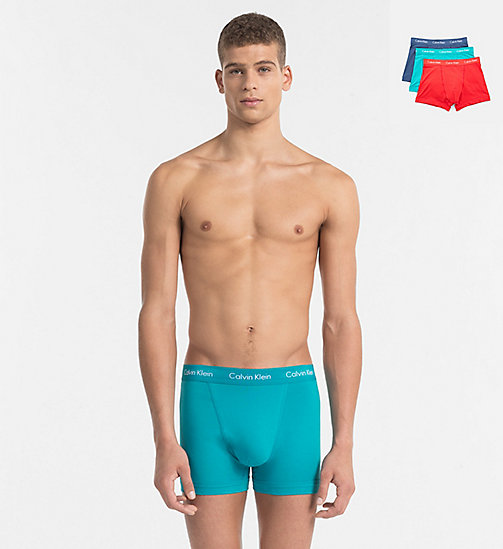 CALVINKLEIN 3 Pack Trunks - Cotton Stretch - GENOA/ RED HEAT/ SYMPHONY (W/ WHITE LOGO - CALVIN KLEIN Bright Colours - main image