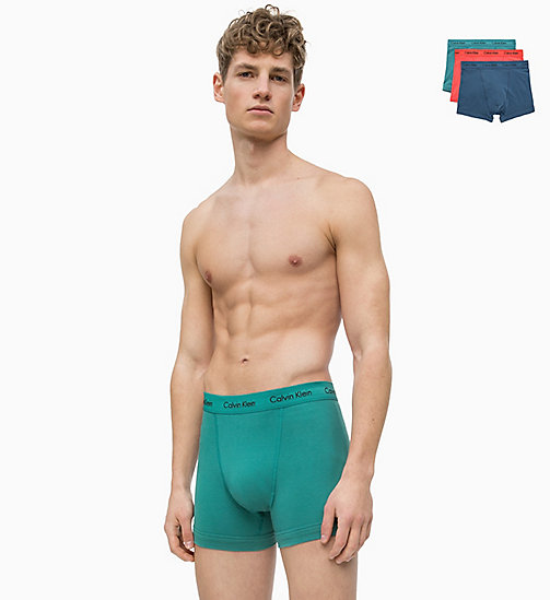 CALVIN KLEIN 3 Pack Trunks - Cotton Stretch - MAJOLICA BLUE /BULL RED/RALEIGH - CALVIN KLEIN NEW FOR MEN - main image