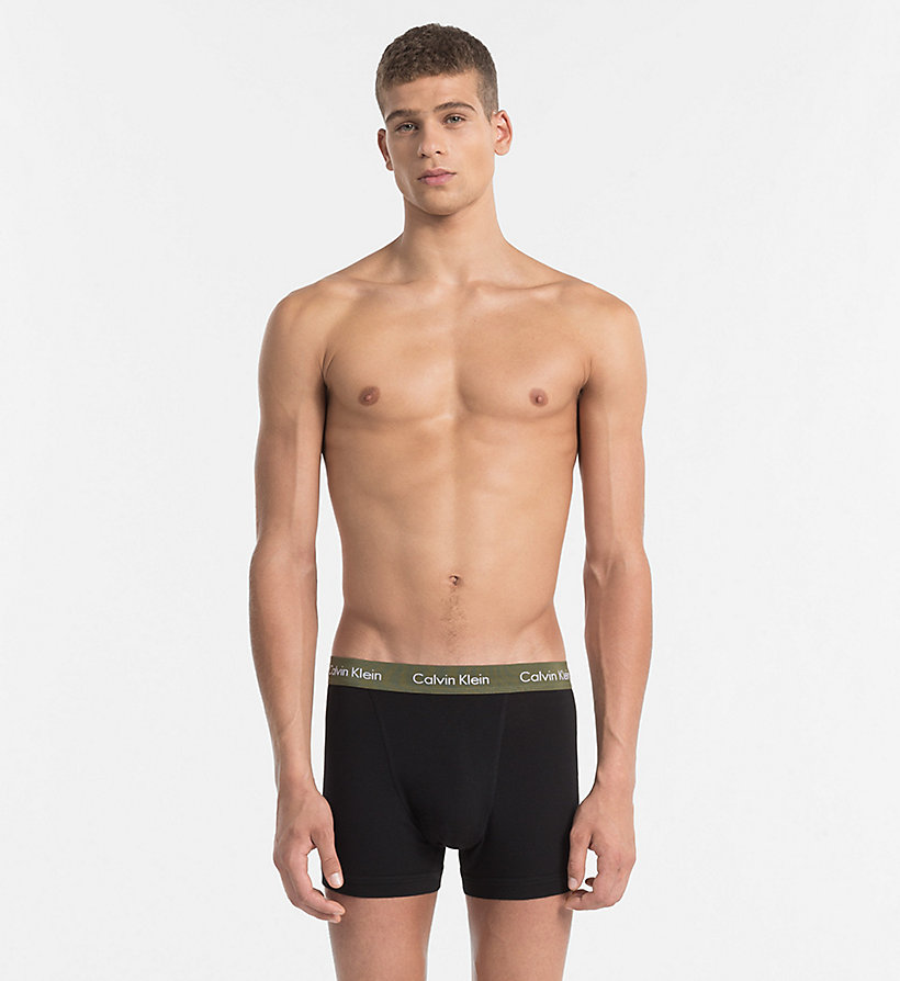 CALVINKLEIN 3 Pack Trunks - Cotton Stretch - BLACK W BLACK / DYLAN RED / HUNSTMAN WB - CALVIN KLEIN UNDERWEAR - detail image 4