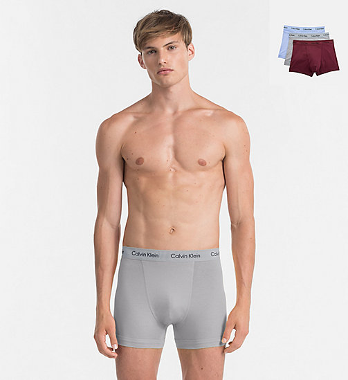 CALVINKLEIN 3 Pack Trunks - Cotton Stretch - SILVER LAKE/MONUMENT/PHEOBE - CALVIN KLEIN NEW FOR MEN - main image