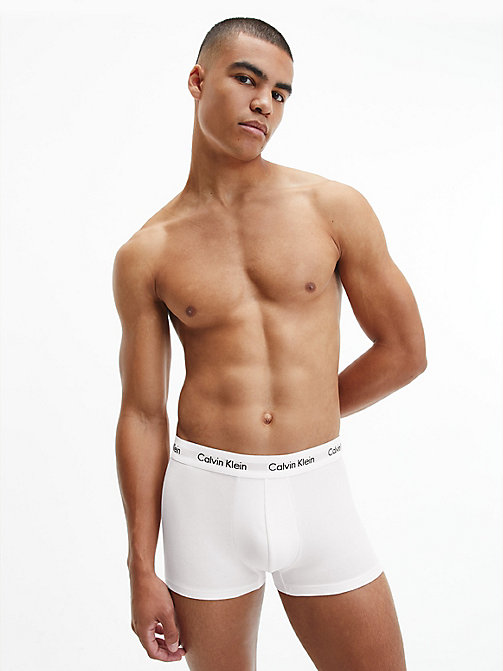 CALVIN KLEIN 3 Pack Low Rise Trunks - Cotton Stretch - WHITE - CALVIN KLEIN UNDERWEAR - detail image 1