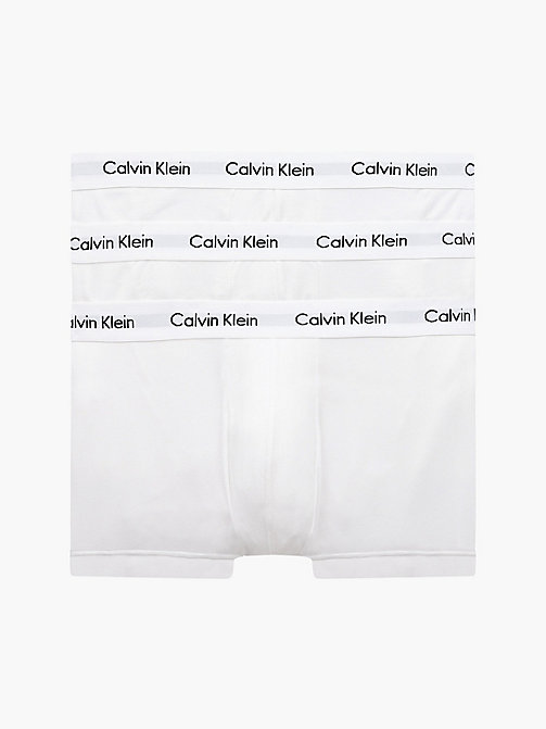 CALVIN KLEIN 3 Pack Low Rise Trunks - Cotton Stretch - WHITE - CALVIN KLEIN UNDERWEAR - main image