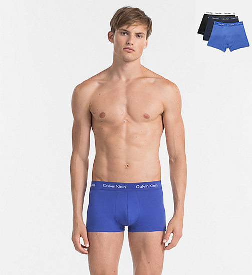 CALVINKLEIN 3 Pack Low Rise Trunks - Cotton Stretch - BLACK/COBALT W/BLUE - CALVIN KLEIN NEW ARRIVALS - main image