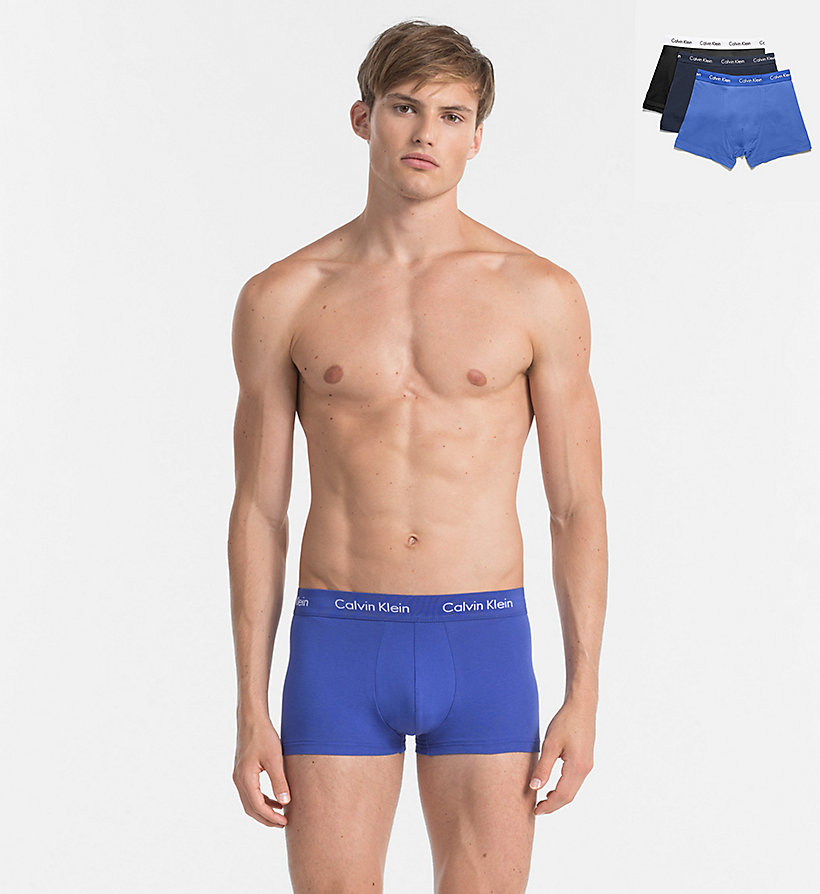 CALVINKLEIN 3 Pack Trunks - Cotton Stretch - BLACK W/ GENOA/ BLACK W/ RED HEAT/ BLACK - CALVIN KLEIN UNDERWEAR - main image