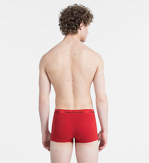 CALVINKLEIN 3 Pack Trunks - Cotton Stretch - MANIC RED/ SHILO BLUE/ CHARCOAL H - CALVIN KLEIN NEW FOR MEN - detail image 1