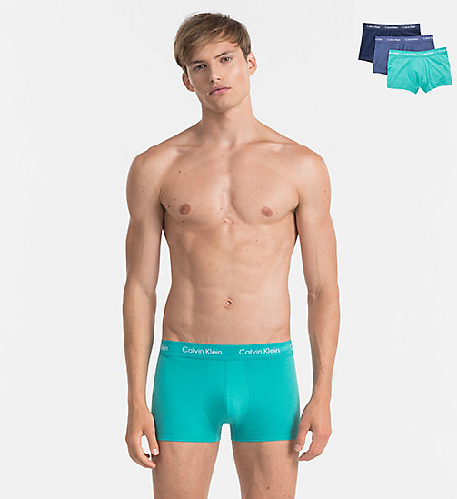 CALVINKLEIN 3 Pack Low Rise Trunks - Cotton Stretch - MAGESTIC / CATALAN / PLACID - CALVIN KLEIN TRUNKS - main image