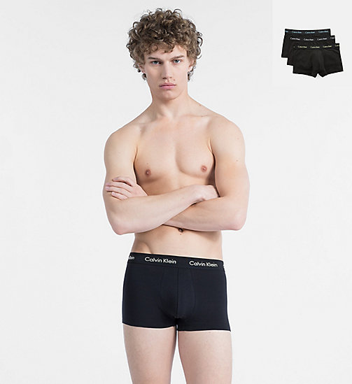 CALVINKLEIN 3 Pack Trunks - Cotton Stretch - BLACK W/ WHITE LOGO/ BLACK W/ LAFAYETTE - CALVIN KLEIN UNDERWEAR - main image