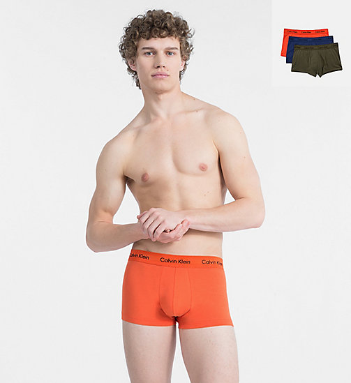 CALVINKLEIN 3 Pack Trunks - Cotton Stretch - FOREST NIGHT/ DARK NIGHT/ S ORANGE - CALVIN KLEIN NEW FOR MEN - main image
