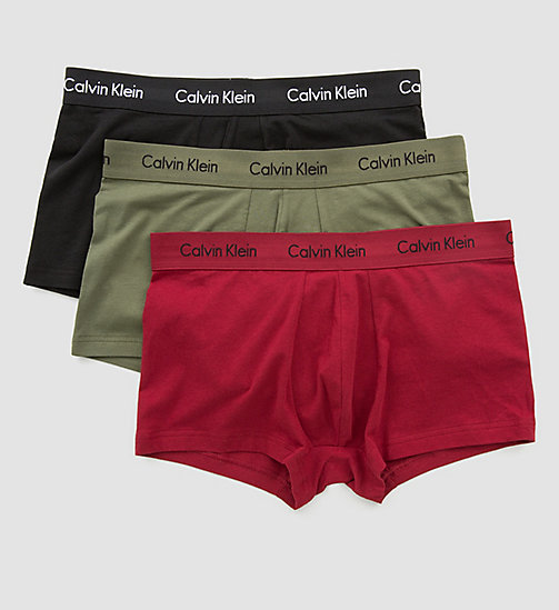 CALVINKLEIN 3 Pack Low Rise Trunks - Cotton Stretch - BLACK / DYLAN RED / HUNSTMAN - CALVIN KLEIN NEW ARRIVALS - detail image 1