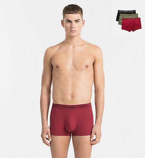 CALVINKLEIN 3 Pack Low Rise Trunks - Cotton Stretch - BLACK / DYLAN RED / HUNSTMAN - CALVIN KLEIN TRUNKS - main image