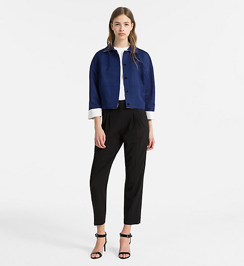 CALVINKLEIN Cotton Silk Cropped Jacket - ADMIRAL BLUE/ WHITE - CALVIN KLEIN COATS & JACKETS - detail image 1