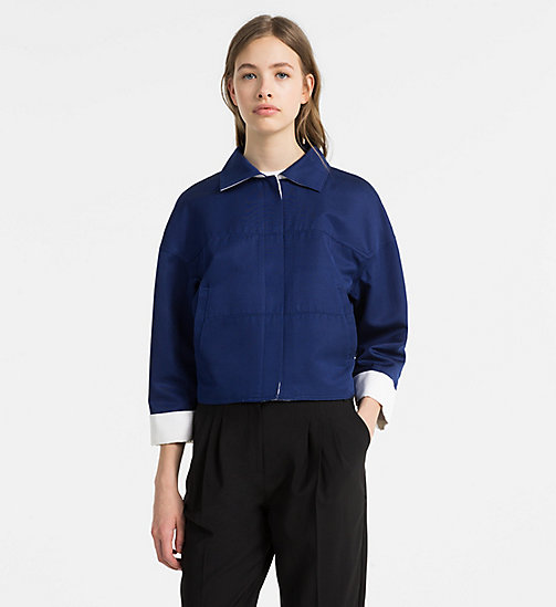 CALVINKLEIN Cotton Silk Cropped Jacket - ADMIRAL BLUE/ WHITE - CALVIN KLEIN COATS & JACKETS - main image