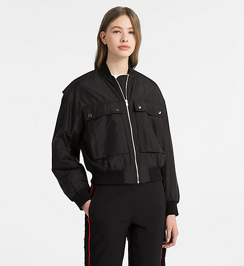 CALVINKLEIN Silk Nylon Bomber Jacket - BLACK/ YELLOW LINING - CALVIN KLEIN CLOTHES - main image
