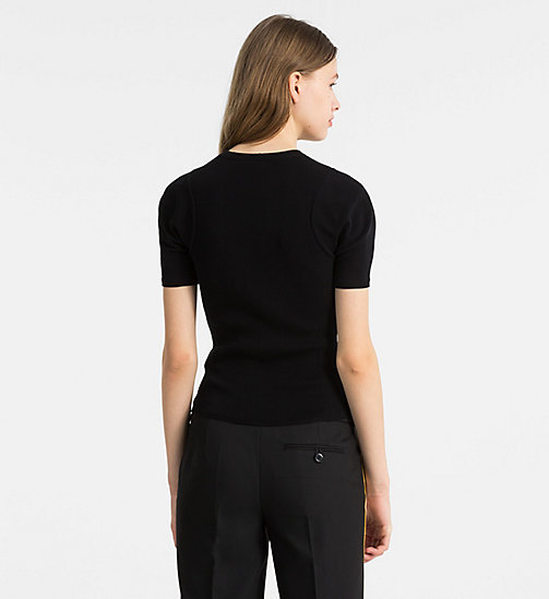 CALVINKLEIN Short-Sleeve Knit Top - BLACK - CALVIN KLEIN TOPS - detail image 1