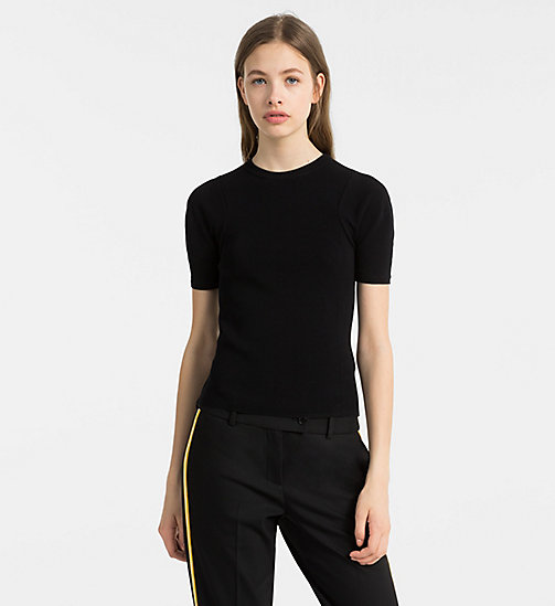 CALVINKLEIN Short-Sleeve Knit Top - BLACK - CALVIN KLEIN TOPS - main image