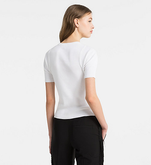 CALVINKLEIN Short-Sleeve Knit Top - WHITE - CALVIN KLEIN TOPS - detail image 1