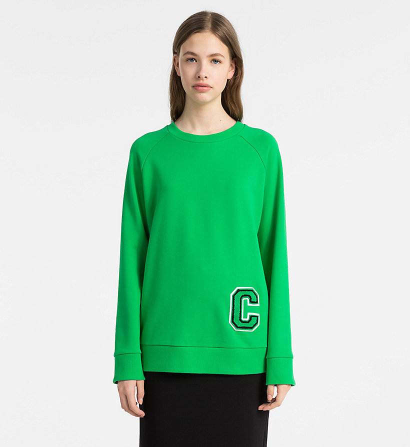 CALVINKLEIN Cotton Terry Logo Sweatshirt - BRIGHT RED/ RED C - CALVIN KLEIN WOMEN - main image