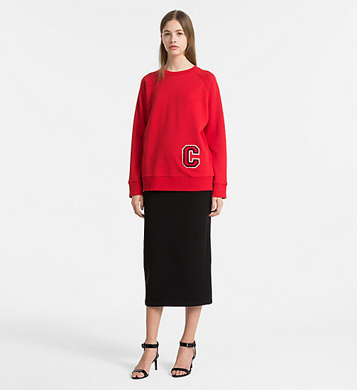 CALVINKLEIN Cotton Terry Logo Sweatshirt - BRIGHT RED/ RED C - CALVIN KLEIN SWEATSHIRTS - detail image 1
