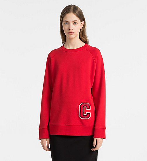 CALVINKLEIN Cotton Terry Logo Sweatshirt - BRIGHT RED/ RED C -  SWEATSHIRTS - main image