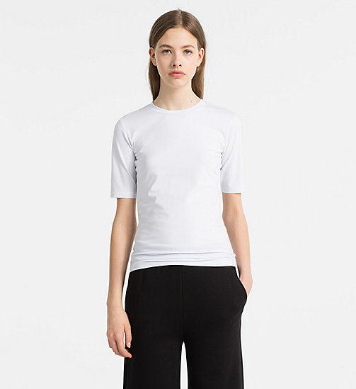 CALVINKLEIN Cotton Stretch T-shirt - WHITE - CALVIN KLEIN TOPS - main image