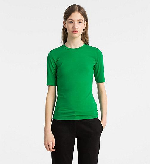 CALVINKLEIN Cotton Stretch T-shirt - KELLY GREEN - CALVIN KLEIN TOPS - main image