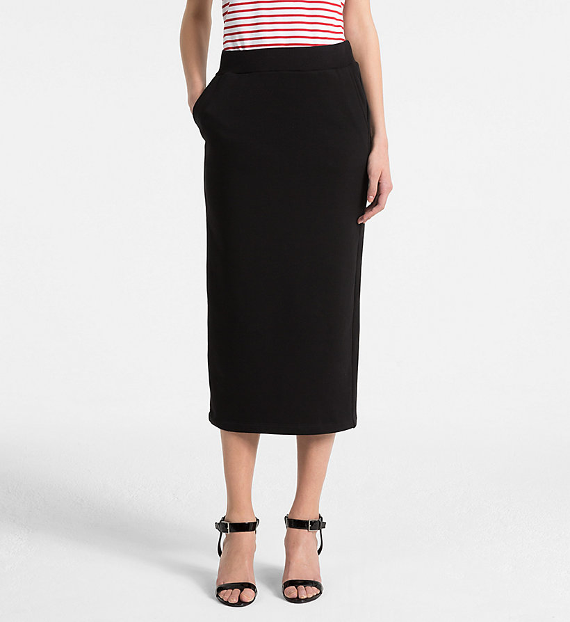 CALVINKLEIN Cotton Terry Pencil Skirt - BRIGHT RED - CALVIN KLEIN WOMEN - main image