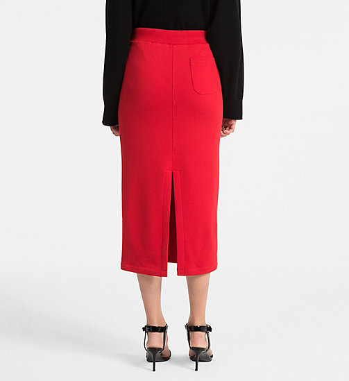 CALVINKLEIN Cotton Terry Pencil Skirt - BRIGHT RED - CALVIN KLEIN SKIRTS - detail image 1