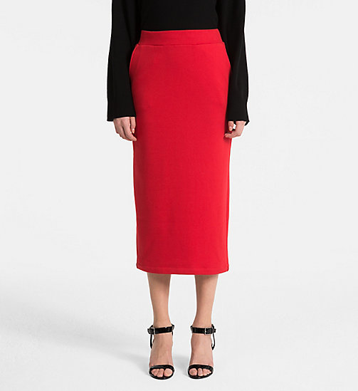 CALVINKLEIN Cotton Terry Pencil Skirt - BRIGHT RED - CALVIN KLEIN SKIRTS - main image