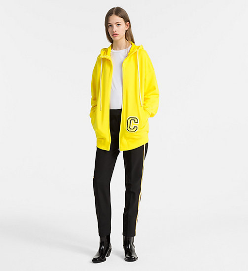 CALVINKLEIN Cotton Terry Logo Hoodie - BRIGHT YELLOW/ YELLOW C - CALVIN KLEIN COATS & JACKETS - detail image 1