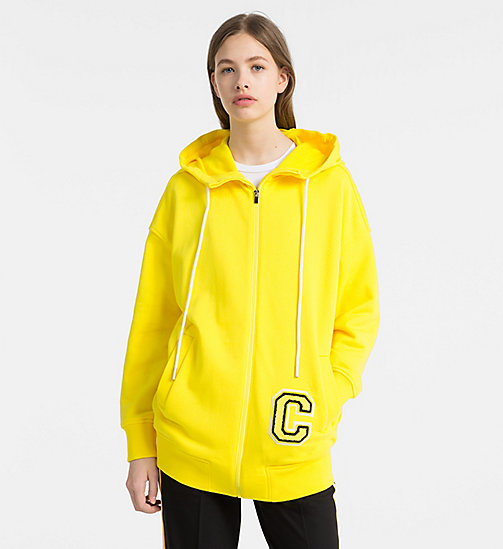 CALVINKLEIN Cotton Terry Logo Hoodie - BRIGHT YELLOW/ YELLOW C - CALVIN KLEIN COATS & JACKETS - main image
