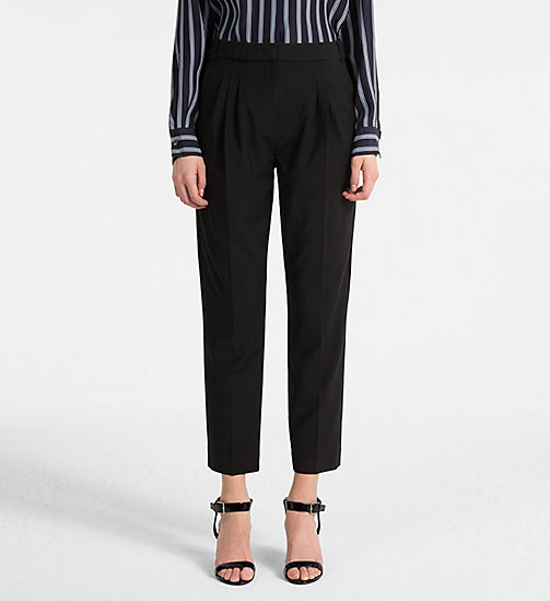 CALVINKLEIN Wool Stretch Trousers - BLACK - CALVIN KLEIN TROUSERS - main image