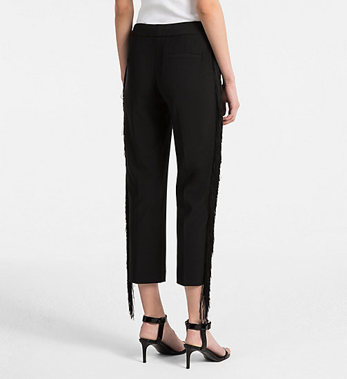 CALVINKLEIN Wool Stretch Fringed Trousers - BLACK - CALVIN KLEIN CLOTHES - detail image 1